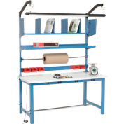 """Global Industrial™ Packing Workbench W/Riser Kit & Power Apron, ESD Square Edge, 72""""W x 30""""D"""
