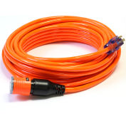 Century D14412100OR ProLock Extension Cord, 12/3 SJTW, 100', Lighted Ends, Orange