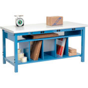 Electric Packing Workbench Plastic Safety Edge - 72 x 30 with Lower Shelf Kit