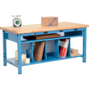 Electric Packaging Workbench Maple Butcher Block Safety Edge - 72 x 30 with Lower Shelf Kit