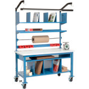 """Global Industrial™ Complete Mobile Packing Workbench, ESD Square Edge, 72""""W x 30""""D"""