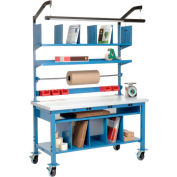 Complete Mobile Electric Packing Workbench Plastic Square Edge - 60 x 30