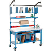 Complete Mobile Electric Packing Workbench Plastic Square Edge - 72 x 30