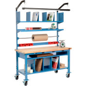 """Global Industrial™ Complete Mobile Packing Workbench W/Power, Maple Square Edge, 60""""W x 30""""D"""