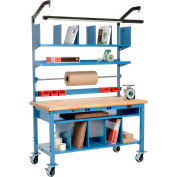 Complete Mobile Electric Packing Workbench Maple Butcher Block Safety Edge - 60 x 30