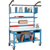 Complete Mobile Electronic Packing Workbench ESD Square Edge - 72 x 30