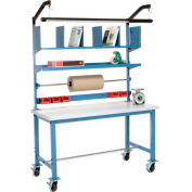 Mobile Packing Workbench Plastic Square Edge - 60 x 30 with Riser Kit