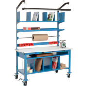 """Global Industrial™ Complete Mobile Packing Workbench W/Power, ESD Safety Edge, 72""""W x 30""""D"""
