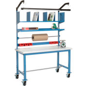 Global Industrial™ Mobile Packing Workbench Plastic Safety Edge - 72 x 30 with Riser Kit