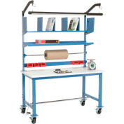 Mobile Packaging Workbench ESD Square Edge - 60 x 30 with Riser Kit