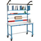 Mobile Electric Packing Workbench Plastic Square Edge - 60 x 30 with Riser Kit