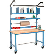 Mobile Packaging Workbench Maple Butcher Block Square Edge - 60 x 30 with Riser Kit