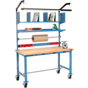 Mobile Electric Packing Workbench Maple Butcher Block Square Edge - 60 x 30 with Riser Kit