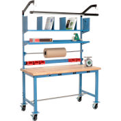 Mobile Electric Packing Workbench Maple Butcher Block Safety Edge - 60 x 30 with Riser Kit