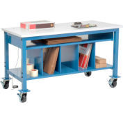 """Global Industrial™ Mobile Packing Workbench W/Lower Shelf Kit, ESD Square Edge, 72""""W x 30""""D"""