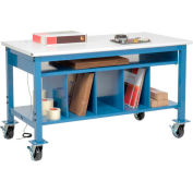 """Global Industrial™ Mobile Packing Workbench W/Lower Shelf Kit, ESD Safety Edge, 60""""W x 30""""D"""