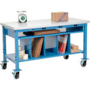 Mobile Electric Packing Workbench Plastic Square Edge - 72 x 30 with Lower Shelf Kit