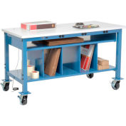 Mobile Electronic Packing Workbench ESD Square Edge - 72 x 30 with Lower Shelf Kit