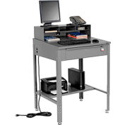 "Shop Desk w Pigeonhole Compartments, Slope Top 34-1/2""W x 30""D x 38 to 42-1/2""H - Gray"