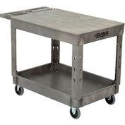"Industrial Strength Plastic 2 Flat Shelf Service & Utility Cart, 44"" x 25-1/2"", 5"" Rubber Caster"