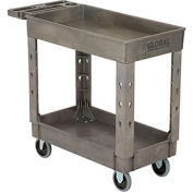 "Industrial Strength Plastic 2 Shelf Tray Service & Utility Cart, 38"" x 17-1/2"", 5"" Rubber Casters"