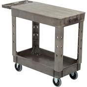 "Industrial Strength Plastic 2 Flat Shelf Service & Utility Cart, 38"" x 17-1/2"", 5"" Rubber Casters"