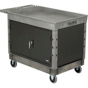 "Industrial Strength Plastic 2 Tray Shelf Maintenance & Utility Cart, 44"" x 25-1/2"", 5"" Rubber caster"