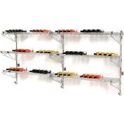 """Wine Bottle Rack - Double Wide 6 Shelf Wall Mount 78 Bottle 96""""W x 14""""D x 34""""H"""