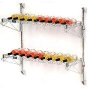 """Wine Bottle Rack - Single Wide 2 Shelf Wall Mount 26 Bottle - 48""""W x 14""""D x 34""""H"""