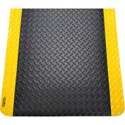 "Diamond Plate Ergonomic Mat 15/16"" Thick 36""x144"" Black/Yellow Border"