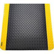 "Diamond Plate Ergonomic Mat 15/16"" Thick 48""x72"" Black/Yellow Border"
