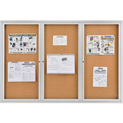 "Enclosed Bulletin Board - Cork - Aluminum Frame - 72"" x 48"" - 3 Door"