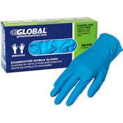 Global Industrial™ Nitrile Gloves, Exam Grade, Powder Free, Blue, 4 MIL, 100/Box, Medium