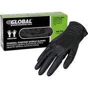 Global Industrial™ Nitrile Gloves, Industrial Grade, Powder Free, Black, 6 MIL,100/Box, Medium
