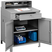 "Shop Desk w Lower Cabinet and Pigeonhole Compartments 34-1/2""W x 30""D x 51-1/2""H - Gray"