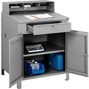 "Cabinet Shop Desk with Pigeonhole Compartment Riser 34-1/2""W x 30""D x 51-1/2""H - Gray"