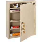 "Global™ Medical Security Cabinet with Double Key Locks, 14""W x 3-1/8""D x 17-1/8""H, Beige"