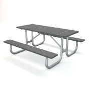 Global Industrial™ 6 ft. Recycled Plastic Rectangular Picnic Table with Galvanized Frame, Gry