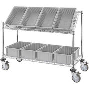 Global Industrial™ Easy Access Slant Shelf Chrome Wire Cart, 8 Gray Grid Containers 48Lx18Wx48H