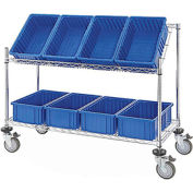 Global Industrial™ Easy Access Slant Shelf Chrome Wire Cart, 8 Blue Grid Containers 48Lx18Wx48H