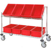"Easy Access Slant Shelf Chrome Wire Cart with 8 Red Grid Containers 48""L x 18""W x 48""H"