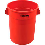 Global Industrial™ Plastic Trash Container, Garbage Can - 32 Gallon Red