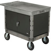 "Industrial Strength Plastic 2 Tray Shelf Maintenance & Utility Cart, 44"" x 25-1/2"", 8"" Pneumatic whl"