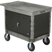"Industrial Strength Plastic 2 Tray Shelf Maintenance & Utility Cart, 44"" x 25-1/2"", 8"" Pneumatic whl"