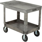"Industrial Strength Plastic 2 Tray Shelf Service & Utility Cart, 44"" x 25-1/2"", 8"" Pneumatic wheels"
