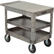 "Industrial Strength Plastic 3 Flat Shelf Service & Utility Cart, 44"" x 25-1/2"", 8"" pneumatic wheels"