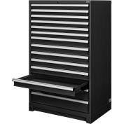 "Global™ Modular Drawer Cabinet, 14 Drawers, w/Lock, w/o Dividers, 36""Wx24""Dx57""H Black"