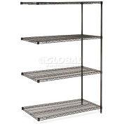 "Nexel® Black Epoxy Wire Shelving Add-On, 72""W x 24""D x 86""H"