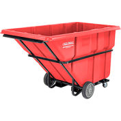 Deluxe Red Extra Heavy Duty Plastic Forkliftable Tilt Truck 1-1/2 Cu. Yard