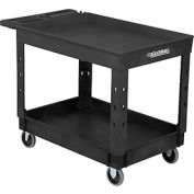 "Industrial Plastic 2 Tray Black Shelf Service & Utility Cart, 44"" x 25-1/2"", 5"" Rubber Casters"